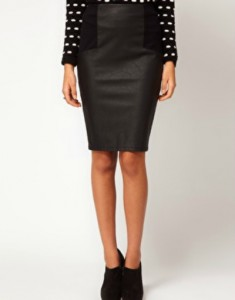 Wet-look Leather Pencil Skirt