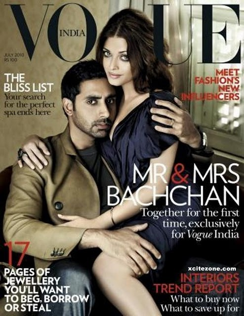 Aishwarya Rai pose with her husband Abhishek Bachchan for the vogue cover Magazine